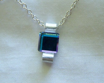 Infinity Stone Azure Crystal Cube Necklace