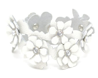 Leather flower cuff bracelet white floral bracelet wedding jewelry with crystal centers third anniversary Valentine's day Mother's day gift
