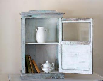 Vintage French Blue Cupboard with glass insert door, Kitchen and Bath Storage, Nursery Storage