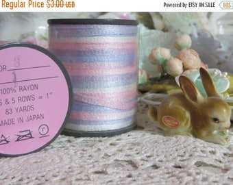 Store Closing SALE Paris Chic Vintage Millinery Ribbon-Blue and Pink-5 yards-Made in Japan