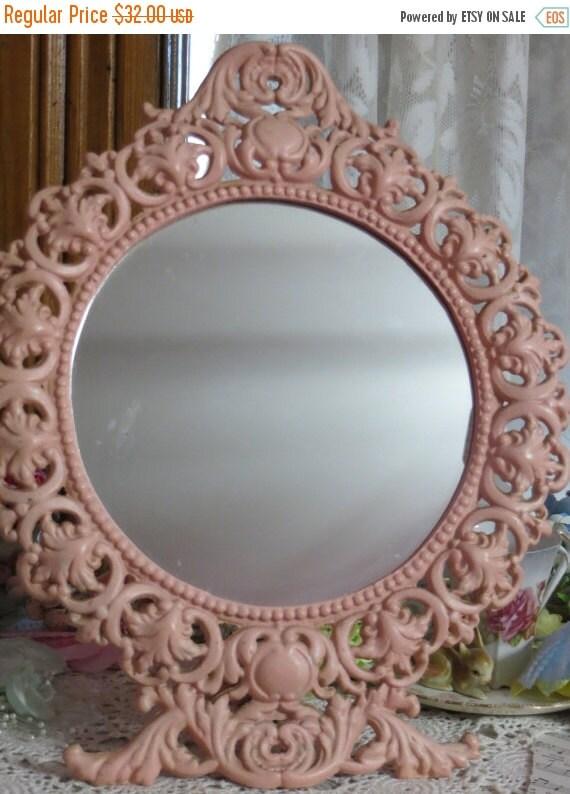 ON SALE Antique Footed Ornate Metal Mirror-Pink-Vanity