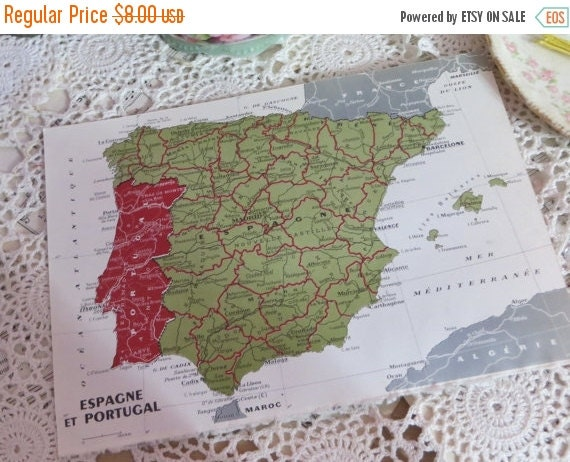 ON SALE Original Color Atlas Map-Book Plate-Bookplate-French-Spain