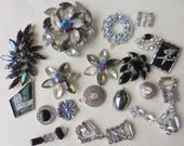 Destash INTERESTING RHINESTONE Craft Lot Altered Assemblage for Repurposing Jewelry Making