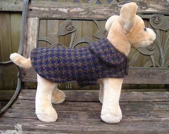 Dog Jacket- Navy and Brown Houndstooth Coat- Size XX Small- 8 to 10 Inch Back Length
