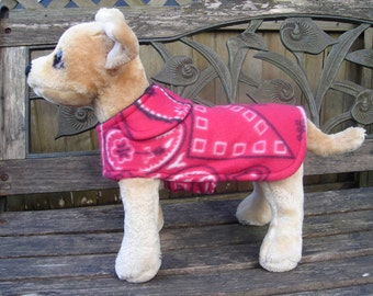 Dog Coat - Red and White Bandana Fleece Dog Coat- Size XX Small- 8 to 10 Inch Back Length - Or Custom Size