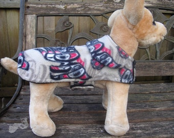 Dog Jacket -  Aboriginal Eagle Fleece Coat- Size XX Small- 8 to 10 Inch Back Length - Or Custom Size