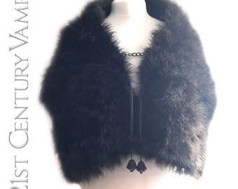 Edwardian 1910s 1920s Marabou Feather Stole. Silk Tassels. Lined in Silk. Flapper. Jazz Age. Shawl. Cape.