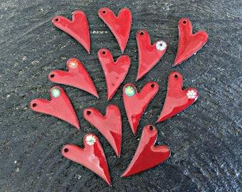 Petite Enamel Red Heart Necklace, Torch Fired Enamel Heart Necklace