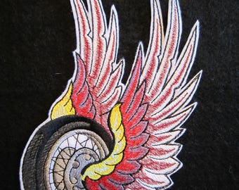 Embroidered Winged Wheel Iron On Patch, Winged Wheel, Iron On Patch, Biker Patch, Motorcycle Patch, Biker