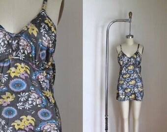 vintage 1930s swimsuit - ISLAND stretch satin bathing suit / M
