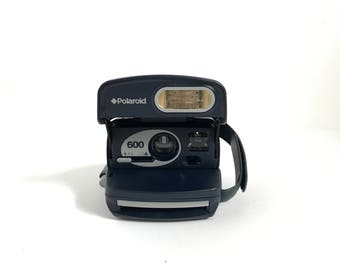 BLUE & silver vintage POLAROID camera 1990s tested and in perfect condition