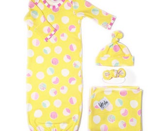 Baby Girl Take Home Set in Happy Polka - Swaddle Blanket, Knot Headband and Gown