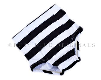 High Waisted Shorties in Chunky Black and White Stripe