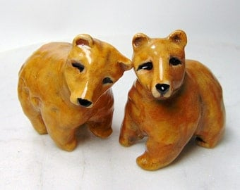 Grizzly Bear Cake Toppers - Food Safe -Forrest Animals -  - Brown Bear Figurine - Clay Brown Bear - Pottery Animal - Ceramic Bear - set of 2