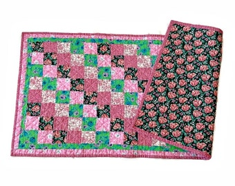 """Shabby Chic Quilted Table Runner / Quilted Table Topper / Quilted Table Linen - Pink, Green, White – 17-1/2"""" wide x 38"""" long"""
