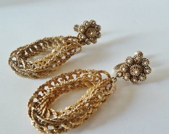 Alpaca Rope Earrings, Gold Chain Screw back earrings, Vintage Mexico Jewelry,