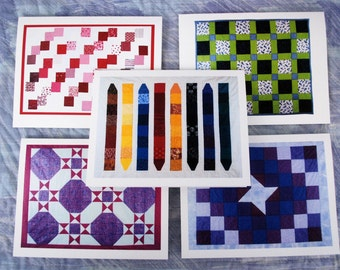 Set of 5 Quilt Note Cards