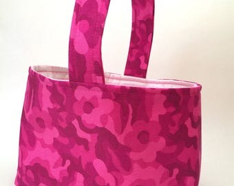 Basket hot pink camouflage, pink stripe, fabric storage caddy, reusable, gift bag, spring decoration, reversible bag, home decor