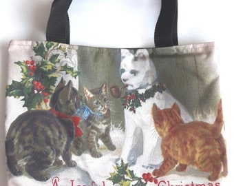 Cats kittens play snowman Christmas flower shoulder handbag shopping tote lunch bag 2 sided image zipper girl gift cute kitty pet party
