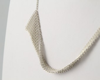 Realm, Delicate Fine Mesh Asymmetrical Necklace by Ashley Childs