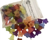 32 Large Frosted Variety 8 colors (2 Pair Each) Lily Bell Trumpet Lucite Acrylic Plastic Flower Bead 18x12mm