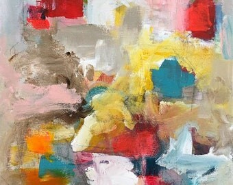 Abstract Expressionist Painting -Roses are Red 12 x 16