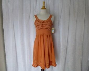 Slip Dress 32/34 Small Orange Pumpkin Glam Garb Handmade USA Romantic Negligee Nightgown Victorian Full-Slip Vintage Hand Dyed Rockabilly