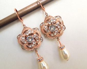 Rose Gold Bridal Pearl Earrings,Bridal Earrings,Rhinestone Earrings,Ivory Swarovski Pearls,Rose Earrings,Statement Earrings,Rose,ROSELANI
