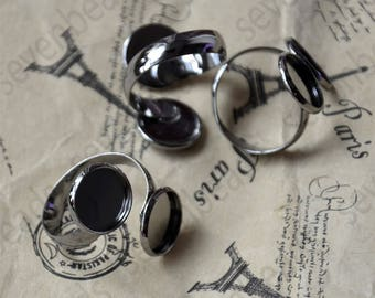 6pcs Gunmetal plated Black Double ring base Adjustable RING round tray,2 Round Bezel Cup Cabochon Mountings,Newest Arrival pad size12mm