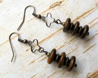 Brown and Black Ethnic Horn Earrings (3342)