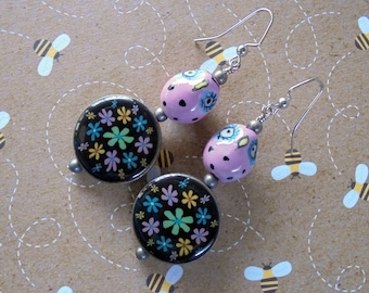 Pink Owl and Multicolor Flower Earrings (3540)