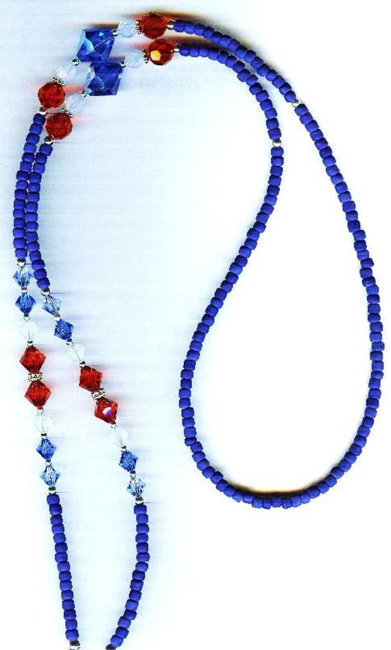 Patriotic Red White & Blue Glass Crystal Eyeglass Chain or ID Badge Lanyard 3