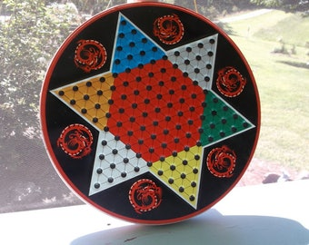 Vintage Ohio Art tin Chinese Checkers and Checker board on the other side