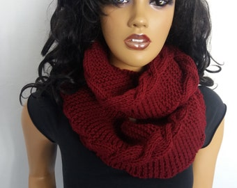 New item,Claret Red cowl,Claret Red Versatile bulky hood style cowl
