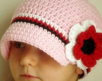 Newsboy hat for girl, baby girl brimmed hat, newsgirl hat, newsboy crochet baby hat, pink hat with flower