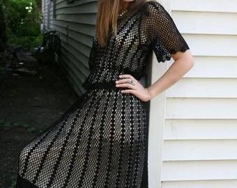 MaySale Women's Vintage Crochet Dress Two Piece Top Skirt Set in Black, S-M