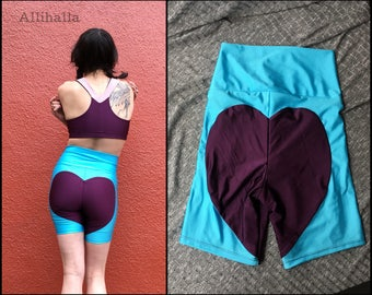 M Aqua // Merlot Big Heart Bike Shorts size Medium 6 8 10