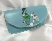 Vintage Fidelity Turquoise Vinyl Girl Lamb Childrens Eye Glass Case