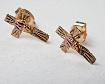 10K Gold Earrings Victorian Gold Cross Vintage Cross Crucifix Easter Yellow Gold Antique Jewelry Cross Earrings Catholic Jewelry Jesus