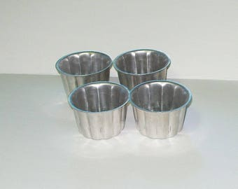 Vintage Jello Molds Aluminum Shaped Aspic Mold Set of 4 From the 80s Individual Mold Half Cup 4175
