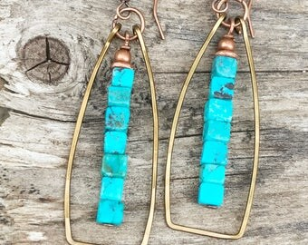 Turquoise earrings, turquoise boho jewelry, geometric earrings, hoop earrings, turquoise jewelry, geometric jewelry