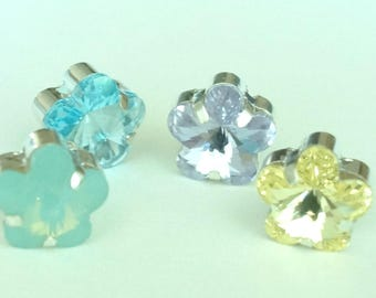 Swarovski 10mm Flower  4744 Crystal Sew Ons  Choose Pacific Opal , Citrene Yellow , Violet Purple, Aquamarine, (3)