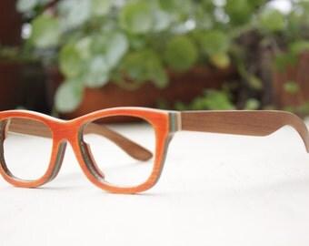 TAKEMOTO bamboo MJX1055 orange handmade prescription sunglasses  eyeglasses