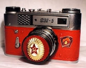 Red USSR FED-5 camera rare Russian LEICA in box -=Aways Ready=-