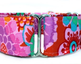 Pink and Purple Martingale Dog Collar - 1.5 Inch Width - Extra Wide Dog Collar - Maui Garden Dog Collar