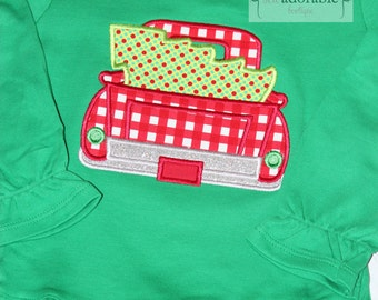 Girly Christmas Truck Applique Shirt with FREE PERSONALIZATION, Christmas Tree Shirt, Toddler Christmas Outfit, Haulin' Christmas Trees