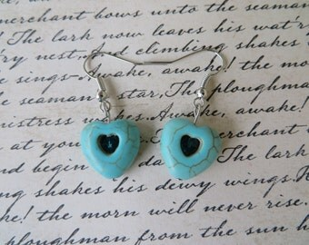 Blue Heart Howlite Drop Earrings With Teal Crystals