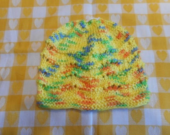 Baby Hat Knitted , 3 to 6 Months, Soft Baby Yarn Hat, Baby Shower Gift, Multi Color Soft Yarn for Baby