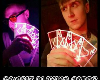 Gambit inspired Light up LED Aces cards [set of 4] you pick the color.