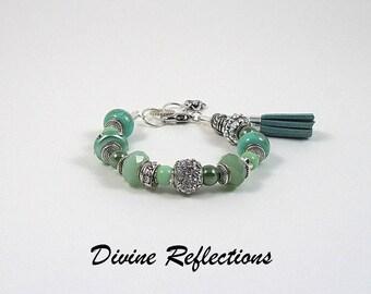 Green European Style Bracelet, Green Charm Bracelet, Suede Tassel